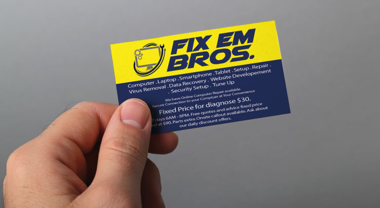 Business card with too much information.