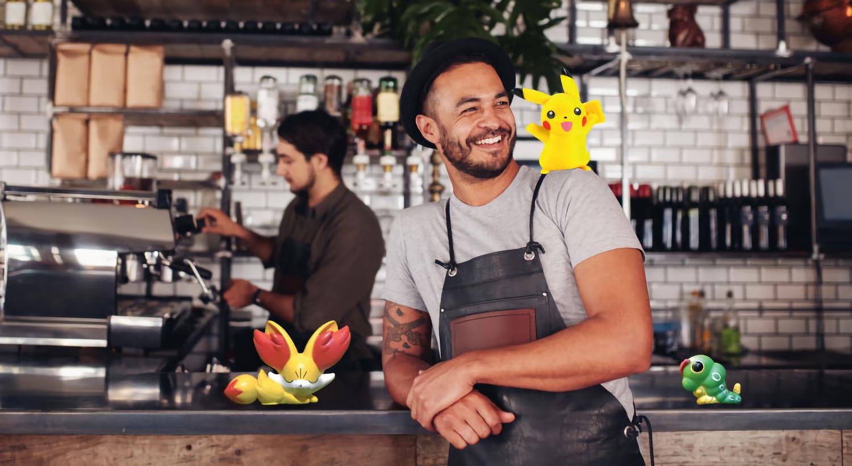 Cafe employees enjoying the Pokemon Go marketing craze