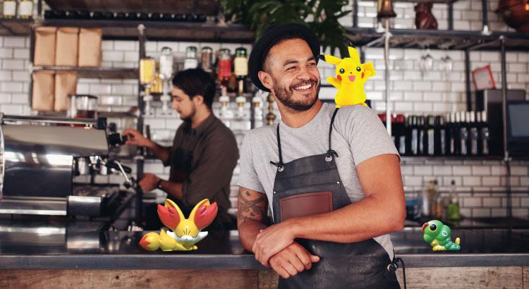 Cafe employees enjoying the Pokemon Go game