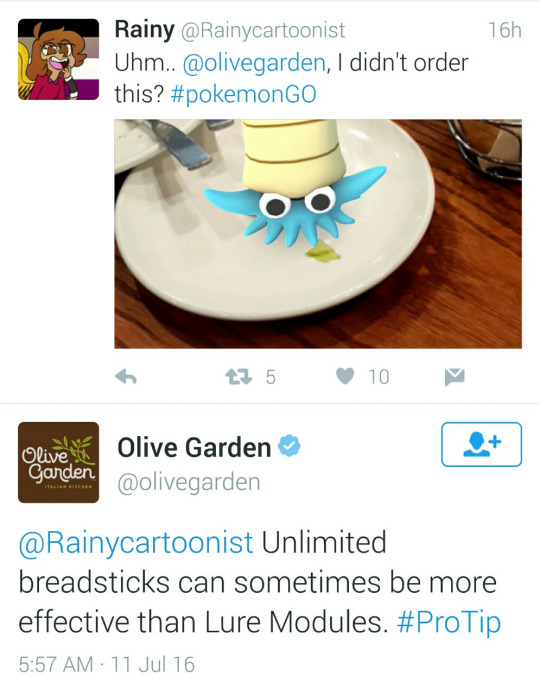 Olive Garden Twitter account responding to a Pokemon Go player