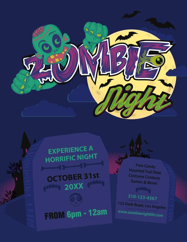 halloween zombie flyer template