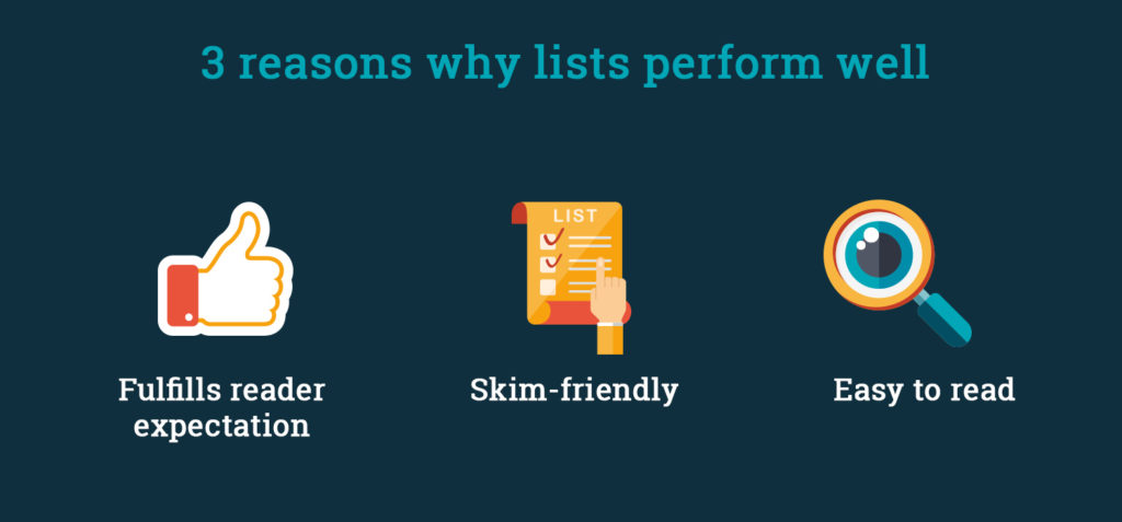 Reasons why lists perform well.