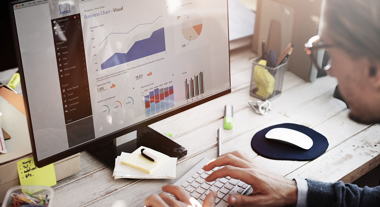 Marketer checking site traffic in analytics