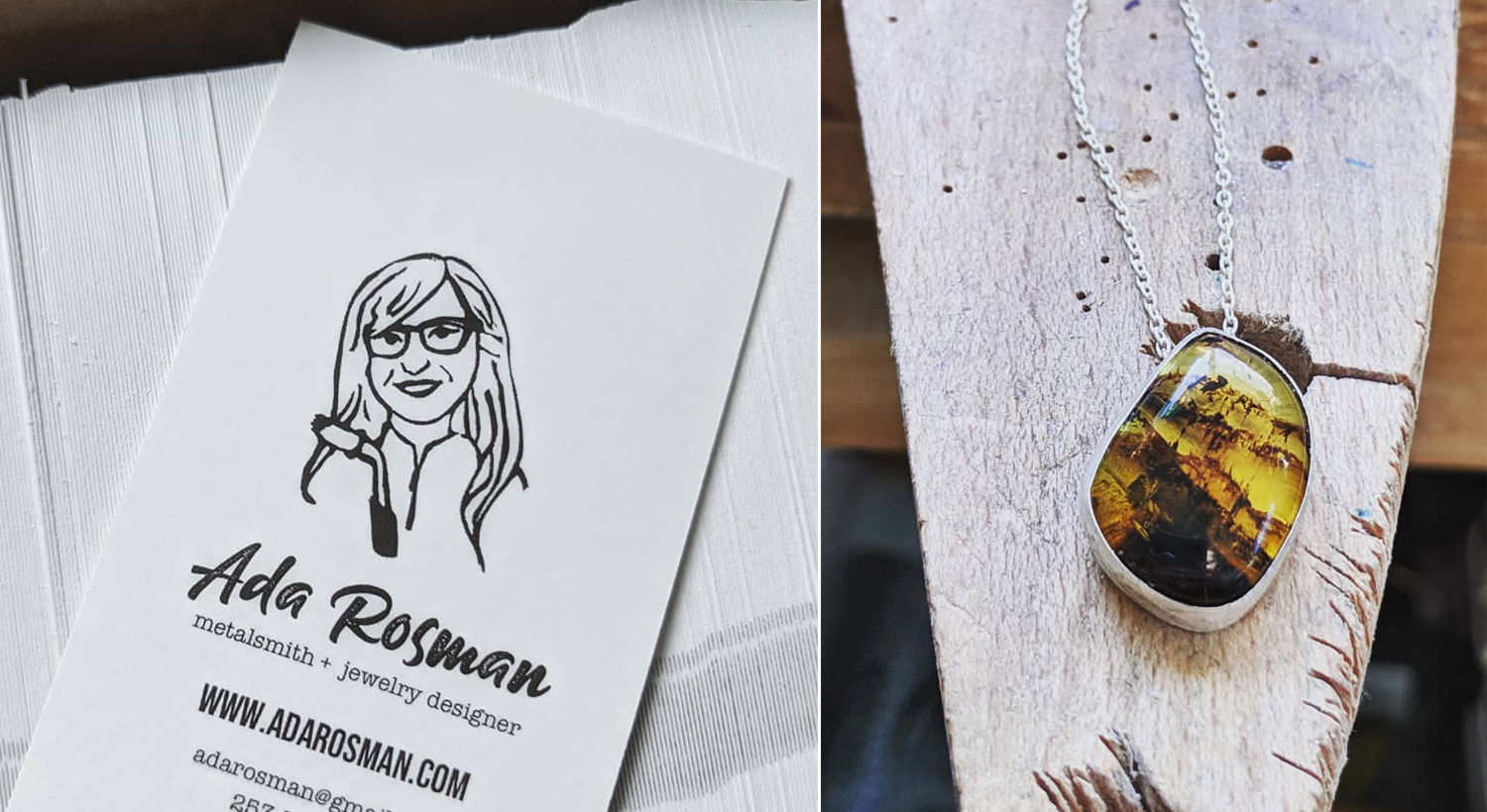 White business card with girl drawing