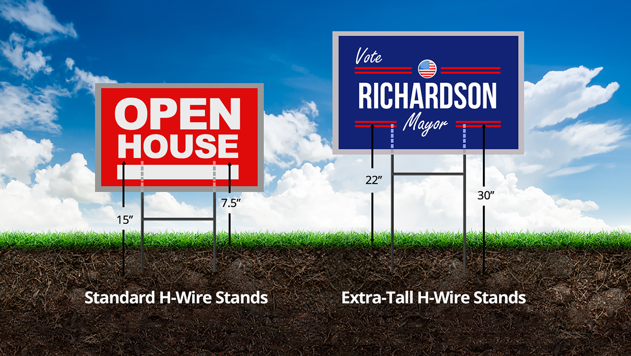 Illustration of H-wire yard signs