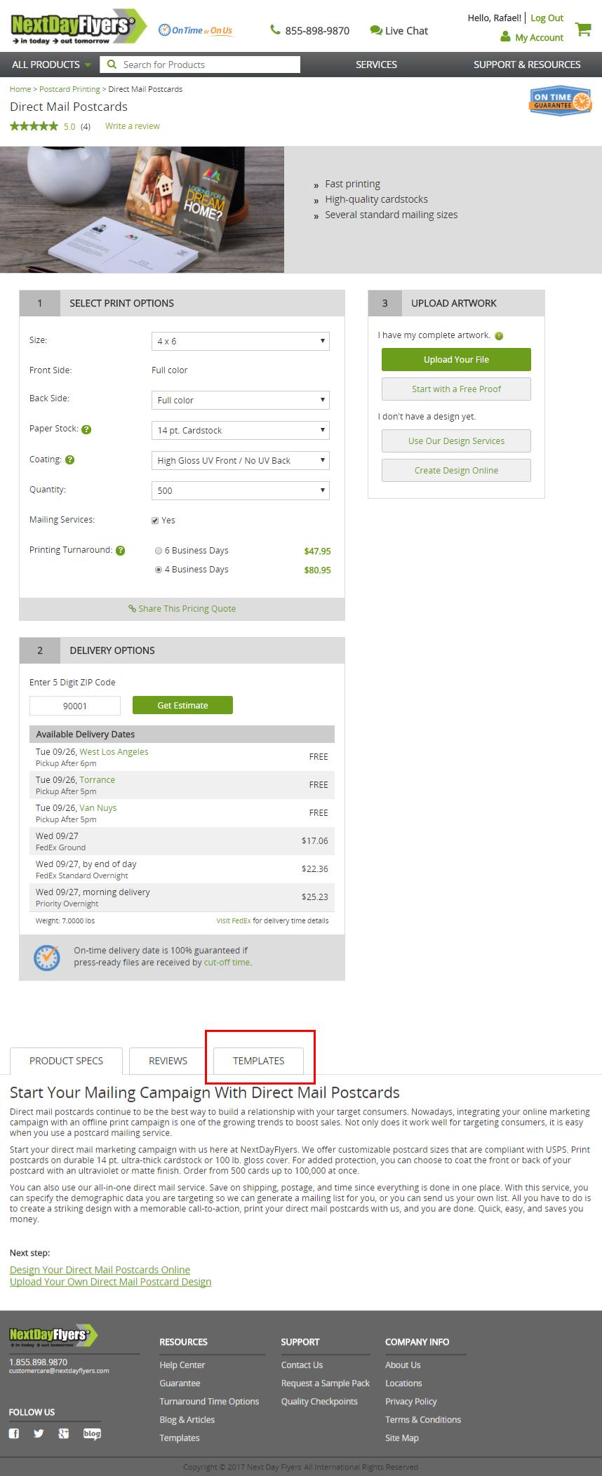 NextDayFlyers mailing templates